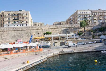 ferries: SLIEMA, MALTA - SEPTEMBER 15, 2015: Ferry route from Valletta to Sliema Ferries terminal on September 15, 2015 in Valletta, Malta.