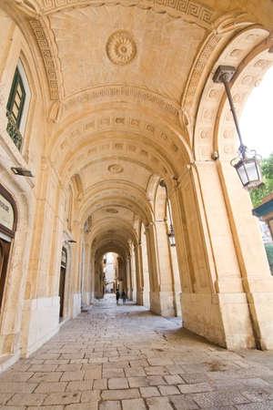the vaulted: VALLETTA, MALTA - SEPTEMBER 15, 2015: Vaulted architecture in the capital on September 15, 2015 in Valletta, Malta.