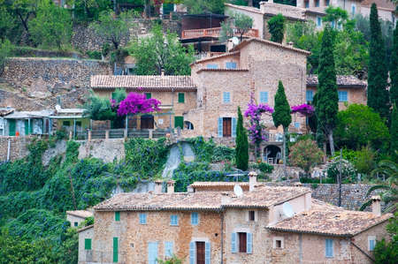 vegatation: Honey colored drystone buildings with green window shutters, fresh green vegatation and purple bougainvillea flowers on an overcast day in Mallorca, Balearic islands, Spain.