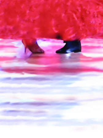 ballroom dance: Ballroom dance floor abstract 5691, digital painting in red, purple, black, pink and blue with male and female foot, beautiful dress and dance floor background. Stock Photo