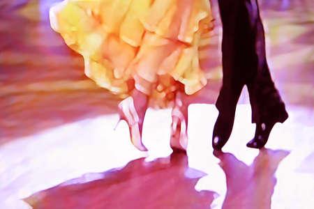 5465 추상 볼룸 댄스 플로어, 디지털 회화, 노란색, 보라색, 흰색, 검은 색.