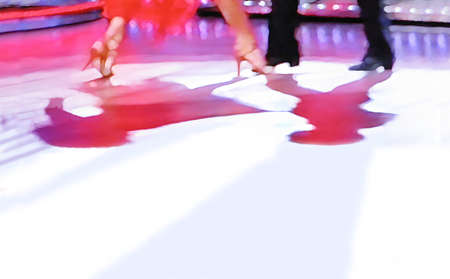 Ballroom dancers feet floor abstract 5516, digital painting in yellow, black, white, purple.