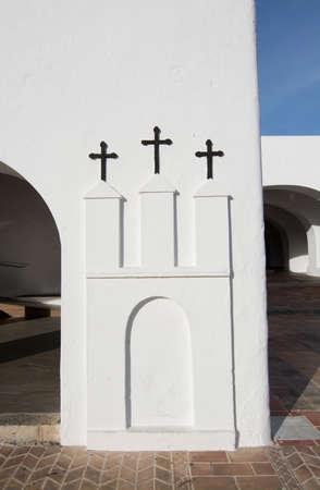 josep: SANT JOSEP DE LA TALAIA, IBIZA, SPAIN - DECEMBER 16, 2015: White church with three crosses on December 16, 2015 in Sant Josep de la Talaia in Ibiza, Balearic islands, Spain