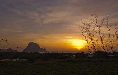 vedra: Magical, mystical Es Vedra island around winter solstice sunset, Ibiza, Balearic islands, Spain