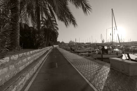 bicycling: PALMA DE MALLORCA, BALEARIC ISLANDS, SPAIN - DECEMBER 22, 2015: Seaside bicycling route along the Mediterranean on a sunny day on December 22, 2015 in Palma de Mallorca, Balearic islands, Spain in monochrome sepia treatment.