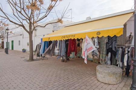 origins: SANTA GERTRUDIS DE FRUITERIA, IBIZA, SPAIN - DECEMBER 16, 2015: Fashion store Origins outdoor display on December 16, 2015 in Santa Gertrudis de Fruitera in Ibiza, Balearic islands, Spain