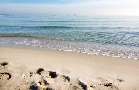 den: Dreamy soft winter beach on Playa den Bossa in December on Playa den Bossa, Ibiza, Spain. Stock Photo
