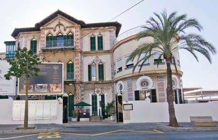 modernisme: CALA MAYOR, MAJORCA, SPAIN - DECEMBER 19, 2015: Restaurant Paradiso building exterior art nouveau or modernisme style on December 19, 2015 in Cala Mayor, Majorca, Balearic islands, Spain