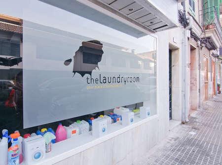 laundry room: PALMA DE MALLORCA, BALEARIC ISLANDS, SPAIN - DECEMBER 19, 2015: Laundry services place The Laundry Room in Santa Catalina on December 19, 2015 in Palma de Mallorca, Balearic islands, Spain Editorial