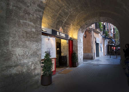 tunel: PALMA DE MALLORCA, BALEARIC ISLANDS, SPAIN - APRIL 7, 2016: El Tunel Restaurant on Carrer de la Mar in Palma de Mallorca, Balearic islands, Spain on April 7, 2016.