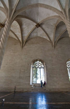 gothic window: PALMA DE MALLORCA, BALEARIC ISLANDS, SPAIN - APRIL 13, 2016: La Llotja gothic window interior in Palma de Mallorca, Balearic islands, Spain on April 13, 2016.