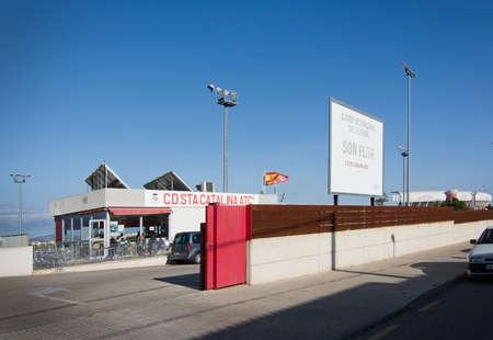 flor: PALMA DE MALLORCA, BALEARIC ISLANDS, SPAIN - APRIL 2, 2016: Entrance to Son Flor, training grounds of FC Santa Catalina, a 3rd division football soccer team in Palma de Mallorca, Balearic islands, Spain on April 2, 2016.