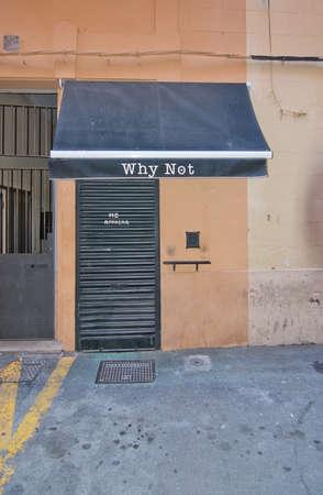 carrer: PALMA DE MALLORCA, BALEARIC ISLANDS, SPAIN - APRIL 7, 2016: Why Not Restaurant on Carrer des Apuntadores in Palma de Mallorca, Balearic islands, Spain on April 7, 2016.