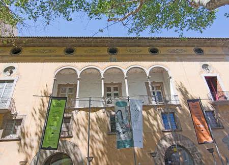 casal: PALMA DE MALLORCA, BALEARIC ISLANDS, SPAIN - APRIL 13, 2016: Detail of Casal Solleric art exhibition space on Born Avenue detail in Palma de Mallorca, Balearic islands, Spain on April 13, 2016. Editorial