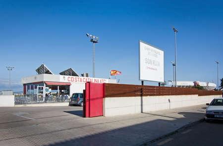 PALMA DE MALLORCA, SPAIN - APRIL 2, 2016: Entrance at Son Flor, the home arena of CD Sta Catalina Atletico on a sunny evening on April 2, 2016 in Palma de Mallorca, Balearic islands, Spain in April.