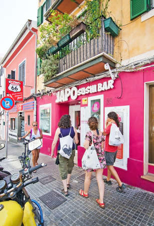 PALMA, MALLORCA, SPAIN - AUGUST 29, 2016: Japo Sushi Bar front entrance in Santa Catalina on a summer day on August 29, 2016 in Palma, Mallorca, Spain.