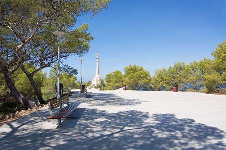 SANTA PONSA, MALLORCA, BALEARIC ISLANDS, SPAIN - SEPTEMBER 3, 2016: King Jaime memorial Disembarkation cross on a sunny summer day on September 3, 2016 in Santa Ponsa, Mallorca, Balearic islands, Spain. Editorial