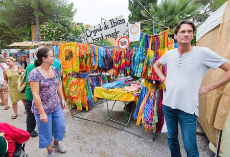 balearic: ES CANAR, IBIZA, BALEARIC ISLANDS, SPAIN - OCTOBER 26, 2016: Hippy Market people and vendors on October 26, 2016 in Es Canar, Ibiza, Balearic islands, Spain. Editorial
