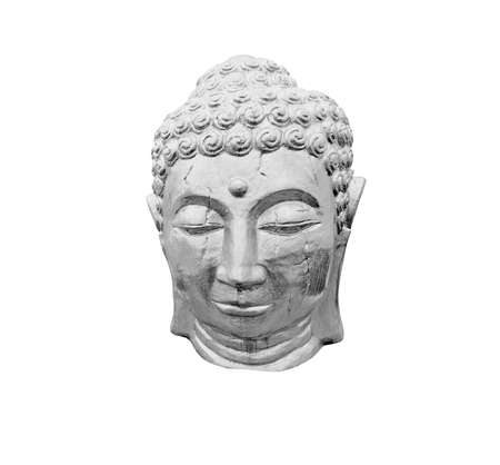 cabeza de buda: Cabeza de Buda de plata aislado en blanco.