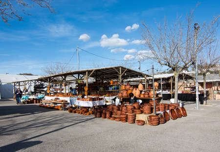 MALLORCA, BALEARIC ISLANDS, SPAIN - MARCH 7, 2017: Ceramics market Fira del Fang booths, products and vendors on March 7, 2017 in Mallorca, Balearic islands, Spain.