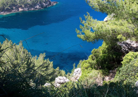 walking path: Walking path nature landscape sea view in Tramuntana mountains between Soller and Cala Tuent, Mallorca, Spain.