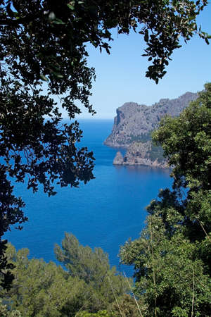 Walking path nature landscape view in Tramuntana mountains between Soller and Cala Tuent, Mallorca, Spain.