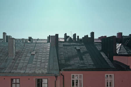 Rooftop view on a sunny day in vintage colors Stockholm, Sweden. Stok Fotoğraf
