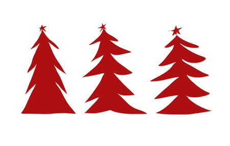 Winter background, New Year digital illustration with three red Christmas trees illustration isolated on white Stock Photo