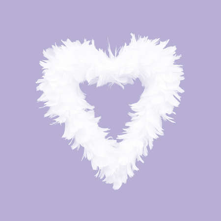 White feathers arranged in heart shape on purple background.