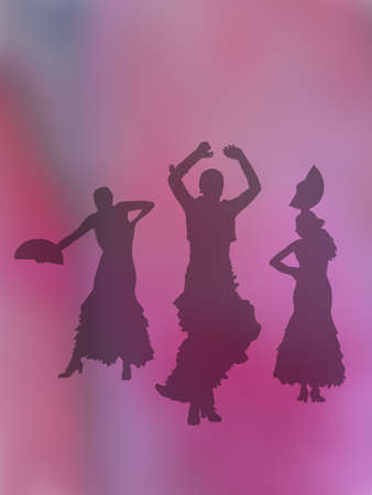 Silhouettes of three female flamenco dancers on rosy pink abstract background illustration.