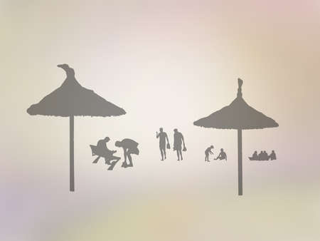 Silhouettes of people on summer beach on golden yellow abstract background illustration.