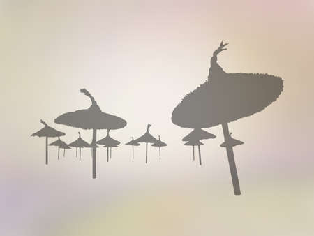 Silhouettes of parasols in perspective on golden yellow abstract background illustration.