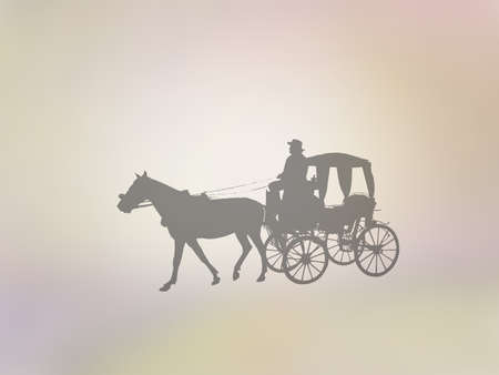 Silhouettes of old-fashioned horse and carriage on golden yellow abstract background illustration. Stock Photo