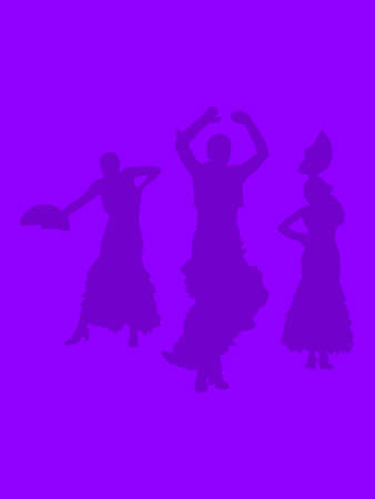 Silhouettes of three female flamenco dancers on ultraviolet purple abstract background illustration.