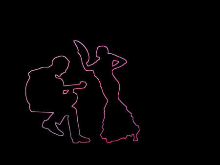 Silhouettes of female flamenco dancer and guitar player pink contours on black abstract background illustration.
