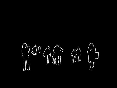 Silhouettes of everyday people in the city taking pictures, checking smartphone white contours on black abstract background illustration.