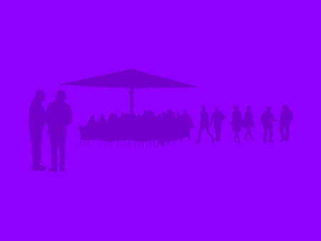 Silhouettes of people in the city talking and sitting in a cafe on ultraviolet purple abstract background illustration. Stock Photo