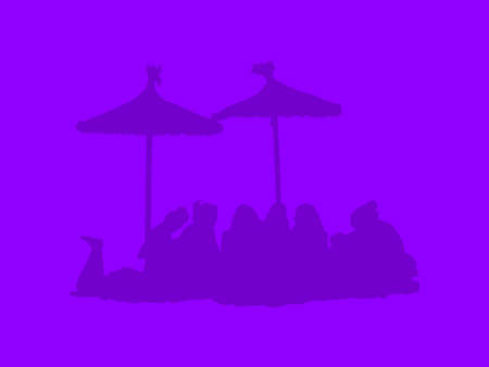 Silhouettes of group under parasols on a beach on ultraviolet purple abstract background illustration. Stock Photo