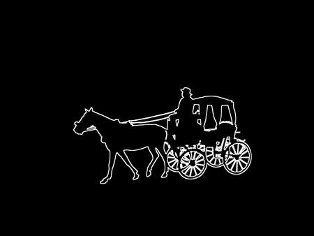 Silhouettes of old-fashioned horse and carriage white contours on black abstract background illustration.