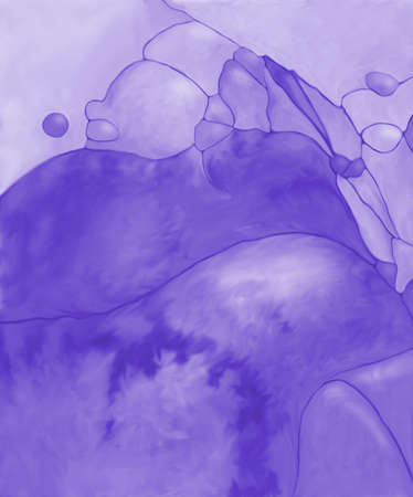 Abstract digital painted purple fantasy landscape or background texture with lines and fields Фото со стока