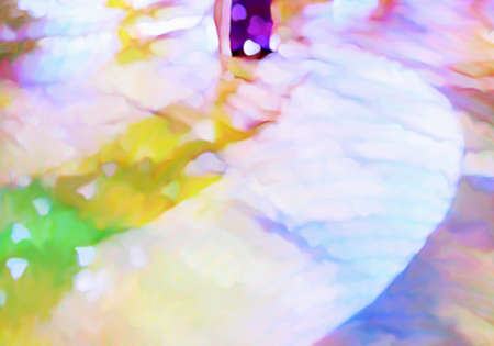 Ballroom dance floor abstract digital painting in yellow, purple, blue, magenta, tan, green, male and female legs cast shadows in spotlight
