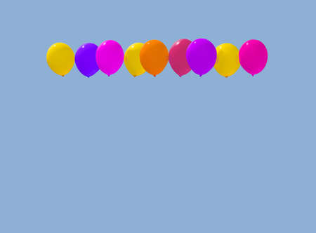 Colourful balloons yellow pink purple red soaring against light blue sky with copy space.