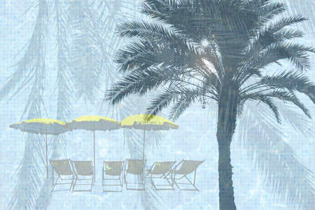 Sun lounge chairs and yellow parasols on turquoise blue pool water surface and palm leaf background.