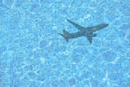 Shadow of leaving airplane takes off over empty pool concept for back to work, school start for example.