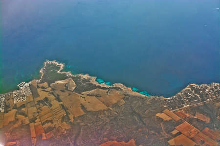 Aerial shot over Estanyol Mallorca during flight on a sunny morning in Mallorca, Spain Stock Photo