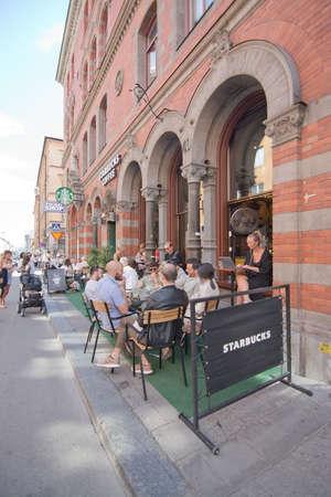 STOCKHOLM, SWEDEN - JULY 11, 2018: Starbucks in Gotgatsbacken Sodermalm on July 11, 2018 in Stockholm, Sweden.