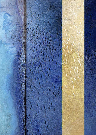 Fish swim in same direction in shallow abstract blue water concrete canal abstract for following, group pressure, dependencies concepts. Yellow complimentary vertical horizontal color line