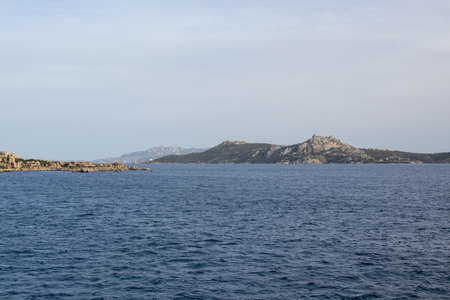Archipelago landscape between Palau and Isola Maddalena in Costa Smeralda, Sardinia, Italy in March.