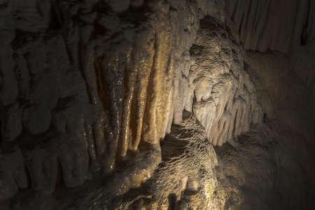Cave interior with stalactites and stalagmites, Cuevas del Drach, Mallorca, Spain.