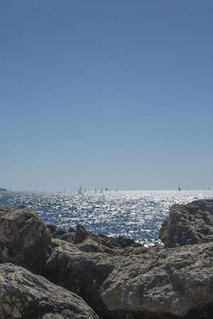 Limestone rocks seaside and blue Mediterranean sea in Mallorca, Spain.